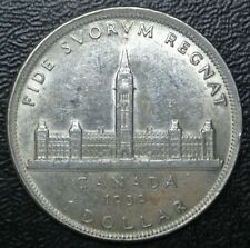 OLD CANADIAN COIN 1939 $1 DOLLAR - .800 SILVER - George VI -PARLIAMENT BUILDINGS