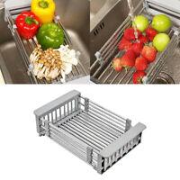 Stainless Steel Dish Drying Rack Telescopic Filter Basket Kitchen Organizer