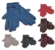 Ladies Soft Coloured Leather Warm Lined Driving Gloves Bow Design