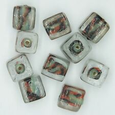 Glass Beads Orange Black Clear Color Lined Square Cube 10mm Pk/10 Made in India.