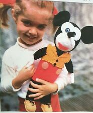 Vintage, retro Toy Knitting Pattern for  Micky Mickey Mouse approx 41cm