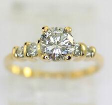 Anillo de compromiso diamante 18 CT oro amarillo 5 brillante redondo .91CT talla