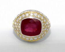ESTATE 10.30 ctw. RUBY DIAMOND 18k Yellow/White Gold Fashion Ring Size 6.5 10.6g