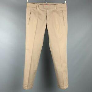 PRADA Size 34 Khaki Cotton Blend Button Fly Casual Pants