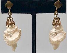 Conch Shell Dangle Clip On Earrings