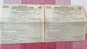 1943 Individual Income & Victory Tax Returns x2 & Receipts Husband Wife WWII Era