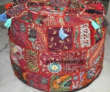 Small Red Pouffe Patchwork Colorful Ottoman Cover Vintage Art Foot Stool Throw