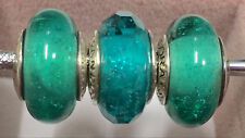 3XAuthentic Pandora 925 ale silver beads charm murano teal shimmer