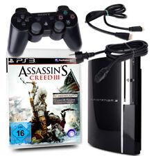 Playstation 3 PS3 Fat 40Gb Cechg04 Black + Orig. Almohadilla + Juego Assassins