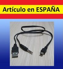 CABLE ADAPTADOR jack 3.5mm y USB a MINI USB salida cargador audio 3,5mm macho
