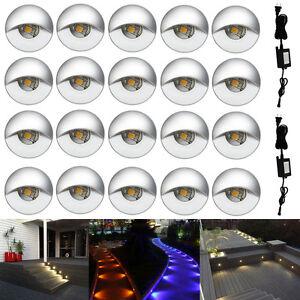 10/20Pcs RGB/Warm White 12V Half Moon Yard Landscape LED Deck Stair Step Lights