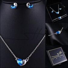 Halskette Ohrstecker Armband *Halb Herz*, Silber, Swarovski Elements, + Etui