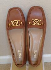 Size 7.5 New Michael Kors Luggage Brown Leather  MK Logo Loafers Moccasins Flats