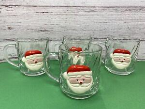 Vintage Very RARE Arcoroc France Clear Glass Mugs w/ Ceramic Santa (4)