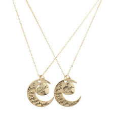 Lux Accessories Goldtone Mom Daughter I Love You to Moon and Back Necklace 2Pc