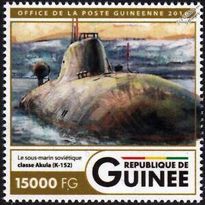 K-152 NERPA (INS CHAKRA) Akula-Class Submarine Warship Stamp (2016 Guinea)