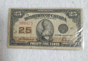 Scarce Rare Vintage 1922 Dominion Of Canada 25 Cents Banknote in XF+ Condition