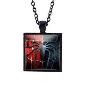 Spiderman Black Pendant Necklace Square Glass Necklaces Chain Jewelry