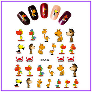 Nail art water transfer stickers decal cartoon characters duck crab camel RP054