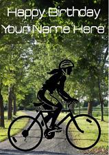 Ladies Road Bike Cyclist Bicycle mia17 Personalised Birthday Card