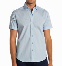 Robert Graham Men's Short Sleeve Nayan Geo Pattern Shirt Tailored Fit Light Blue