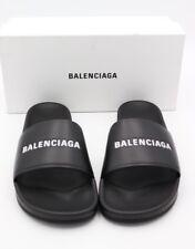 NIB BALENCIAGA Logo Black Leather Flat Pool Slide Sandals New 12 46  $595