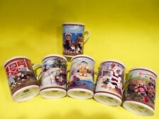 "Set of Six (6) Danbury Mint Boyds Bear Collector Mugs 4"" Excellent"