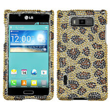 For LG Venice LG730 Crystal Diamond BLING Hard Case Snap On Phone Cover Leopard