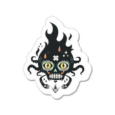 "Black Skull Tribal car bumper sticker decal 5"" x 4"""