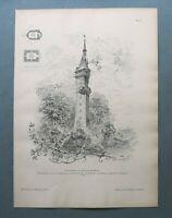 AR85) Architektur Heilbronn Neckar 1885 Aussichtsturm Grundriß Holzstich 28x39cm