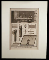 ANTIQUE FRENCH ENGRAVING BENARD DIDEROT ENCYCLOPEDIA DEPICTS TEXTILE INDUSTRY
