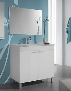 Mueble de baño con espejo y lavamanos PMMA, todo en blanco brillo 80x80x45cm