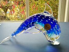 Murano Art Glass Control bubble Dolphin Paperweight / Figurine Signed & Labelled