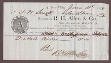 1878 R.H. Allen Dealers In Agricultural Implements Machinery Billhead New York