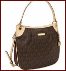 NWT MICHAEL KORS BROWN PVC LARGE MK SIGNATURE TOTE SHOULDER CROSSBODY BAG PURSE