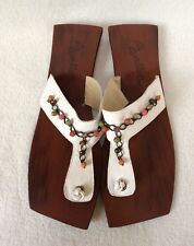 Bem Me Quer Sz 9 White Beaded Leather Wood Sandals Thong Flip Flop NWOT