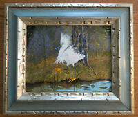 SNOWY EGRET original oil on canvas painting artist signed framed pond bird