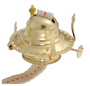 #2 Brass Plated Kerosene OIL LAMP BURNER ~ 1 3/4 Screw-On Collar & Wick