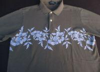 Nautica Mens Hawaiian Aloha Pullover Knit Short Sleeve Olive Polo Shirt Medium M