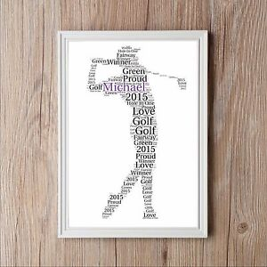 Golfer Stroke Personalised Word Art Golf Print Dad Son Gift Keepsake Present