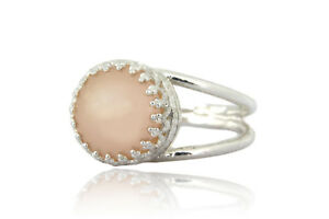 Beautiful 10CT Peach Pearl in 925 Sterling Silver Band Ring Handmade for Women