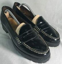 Sperry Top-sider 9.5 Black Leather Patent Upper Rubber Sole Windsor Penny Loafer
