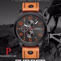 Montre Sport TOP MARQUE Pour Homme Quartz Militaire Bracelet Cuir Neuve +BOITE