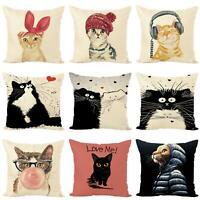 NE_ Cartoon Cat Kitten Linen Pillow Case Cushion Cover Art Home Office Decor Hea
