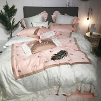 Luxury Princess Egyptian Cotton Embroidery Bedding Sets Cover Bed Sheet Set 4pcs