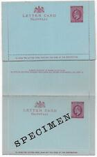 2x Transvaal KEVII 1d letter cards SPECIMEN overprint+regular 1905