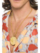 80's Pimp Rapper Pimp Fancy Dress Costume Accessory Large Gold Chain Medallion