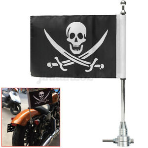"""Motorcycle Bike Skull Flag 15"""" Extended Pole Silver Luggage Rack Mount  -"""
