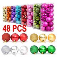 48 PCS Glitter Christmas Balls Baubles Xmas Tree Hanging Ornament Xmas Decor UK