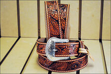 42in. TONY LAMA FLORAL HAND TOOLED WESTERN LEATHER MEN BELT TAN